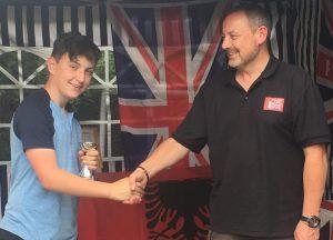 Gman receives the 2017 UK Fyzuntu Championship Trophy