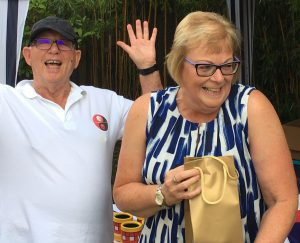 Jane appears delighted with her Maltese Mushroom Trophy Prize