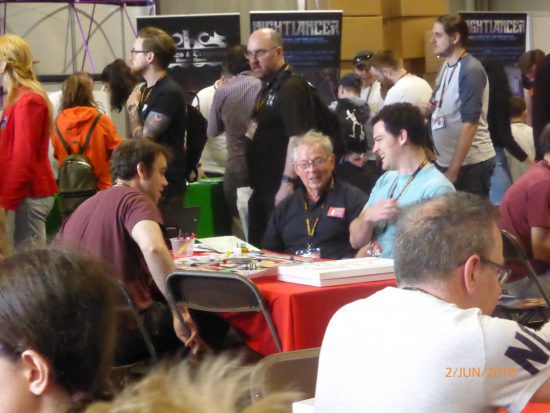 Image of play testing Catchadecker at the 2018 UK Games Expo