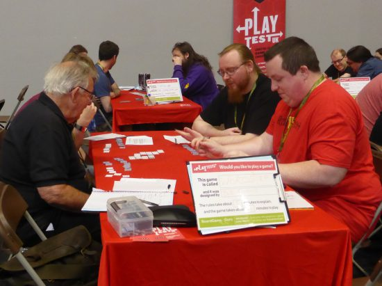 Playtesters putting Wordstep Game to the test at 2019 UK Games Expo